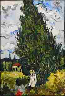 Manner of Vincent van Gogh Two Figures by a Tree