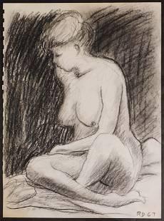 Manner of Richard Diebenkorn Sitting Nude Sketch