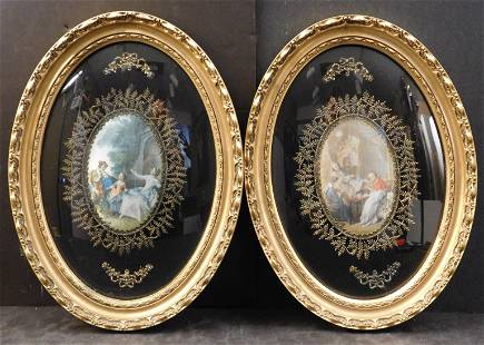 Pair of Rococo Genre Scene Prints on Satin