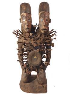 African TwoHeaded Bakongo Nikisi Sculpture