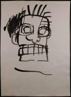 JeanMichel BasquiatManner of Ink Sketch