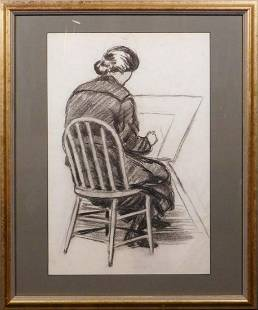 Einar Arvid Barck Woman Drawing