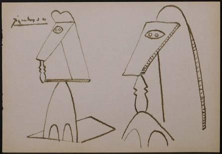Pablo Picasso Attr Sculpture Sketch