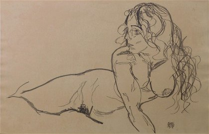 Egon Schiele, Manner of: Reclining Nude with Raised