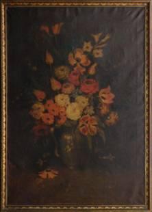 Floral Still Life in Original Art Deco Frame