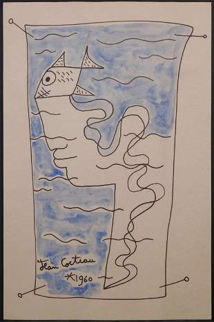 Jean Cocteau, attributed/manner of: Surreal Portrait,