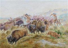 C.M. Russell Attr.: Buffalo Hunt