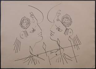 Jean Cocteau, attributed/manner of:  Two Men in
