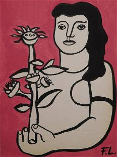 Fernand Leger Attr.: Untitled (Woman with Flowers)