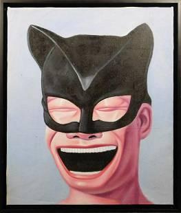 After Yue Minjun: Smiling Portrait in Bat Mask