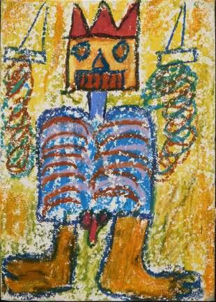 Manner of Jean-Michel Basquiat : Postcard of Crowned