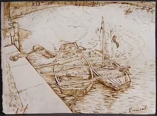 Vincent van Gogh Manner of: Sand Barges on the Siene