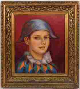 Pablo Picasso, Manner of: Portrait of a Harlequin