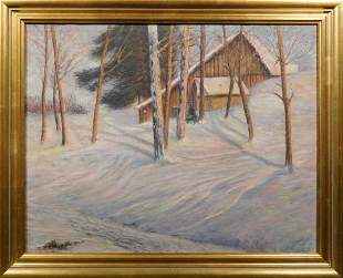 Charles H. Hauser Attr. : Dusk Winter Landscape