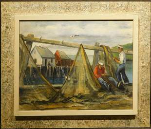 Mending Nets, c.1950 Marine Oil Painting
