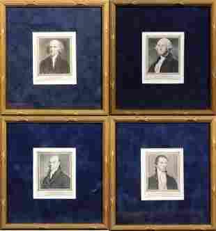 Four Framed Presidential Portraits: Washington,