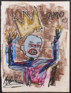 Jean-Michel Basquiat, Attributed: Blue Figure (Hands