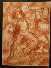 Marc Chagall: Village Berger Descending, sanguine