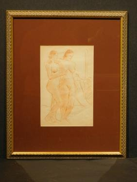 Figure Study Of Two Female Nudes, Sanguine Drawing