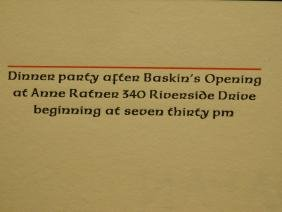 Leonard Baskin Dinner Party & Exhibition Announcements
