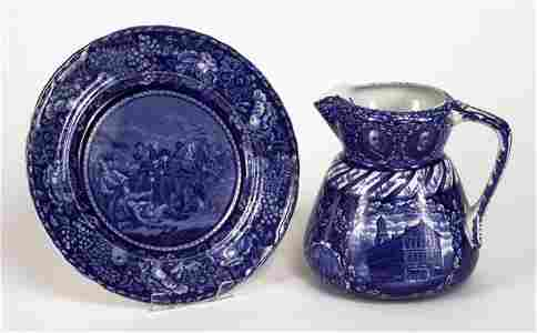 72221066: Blue and white transfer Historical Pottery Ro