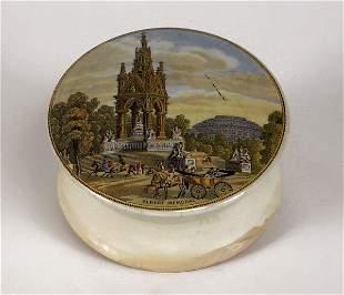 Prattware Albert Memorial pot lid and base