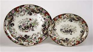 Two English black transfer Chinoiserie oval s