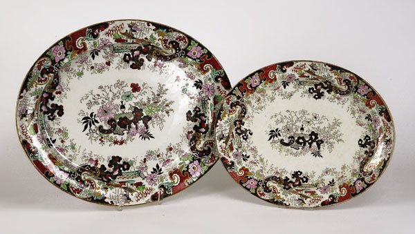 72221068: Two English black transfer Chinoiserie oval s