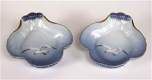 Pair of Bing & Grondahl shell shape seagull p