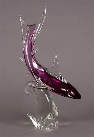 Formia Murano glass shark figurine