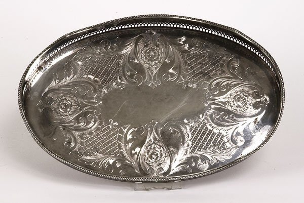 72221074: Cavendish silverplate oval gallery tray