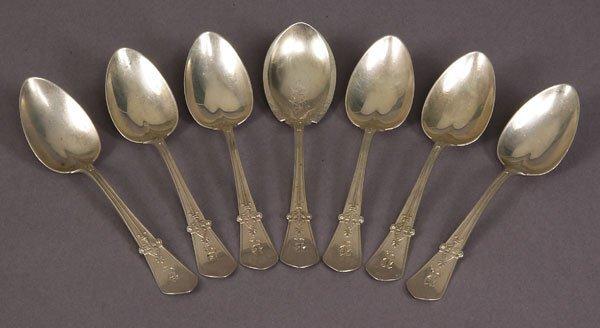 72221076: Seven Gorham silver tea spoons