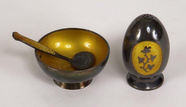 72221077: Meka Denmark silver and yellow enameled shake