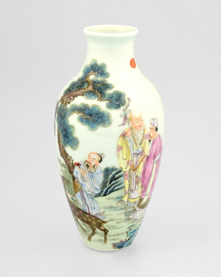 A FAMILLE ROSE VASE WITH FIGURES OF WISDOM AND LONGEVIT