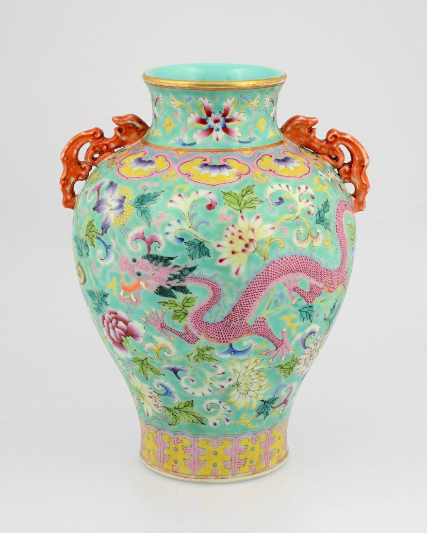 """A FAMILLE ROSE VASE WITH """"EARS"""", QIANLONG MAR"""