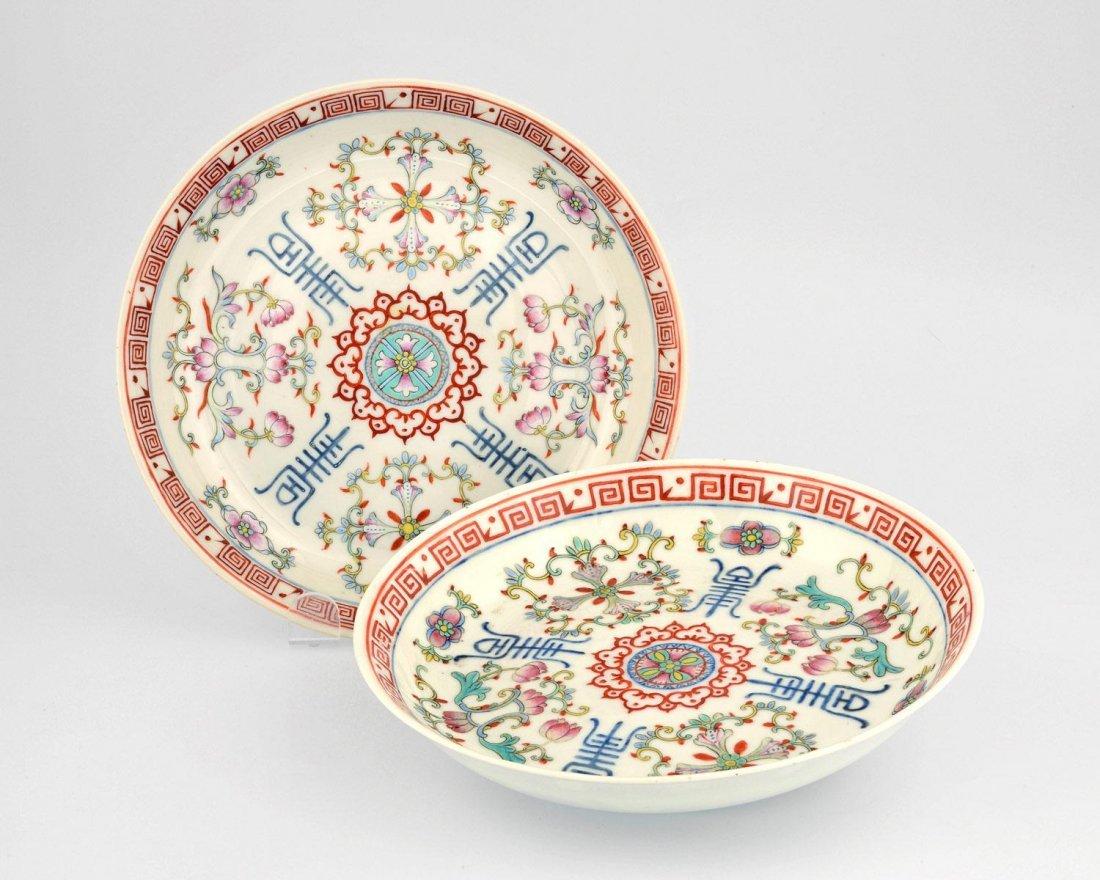 TWO FAMILLE ROSE PLATES WITH TIBETAN MOTIFS, POST-REPUB