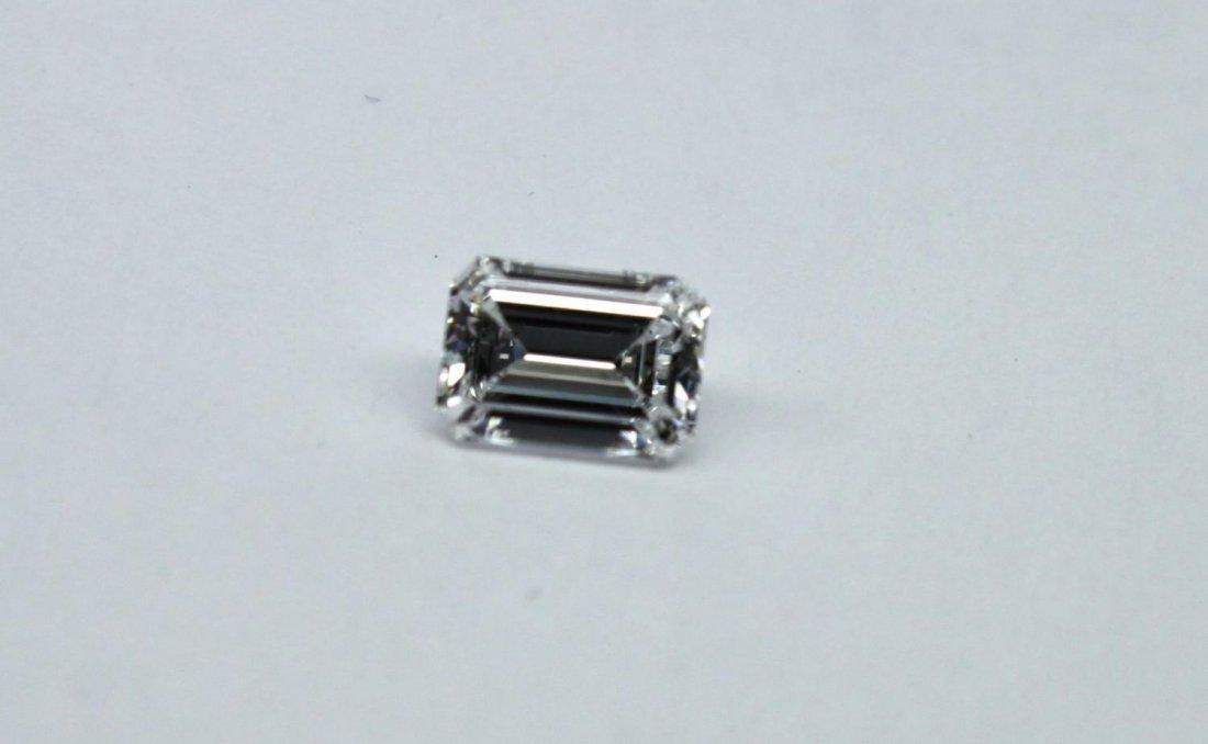 White emerald-cut F colour VS2 diamond