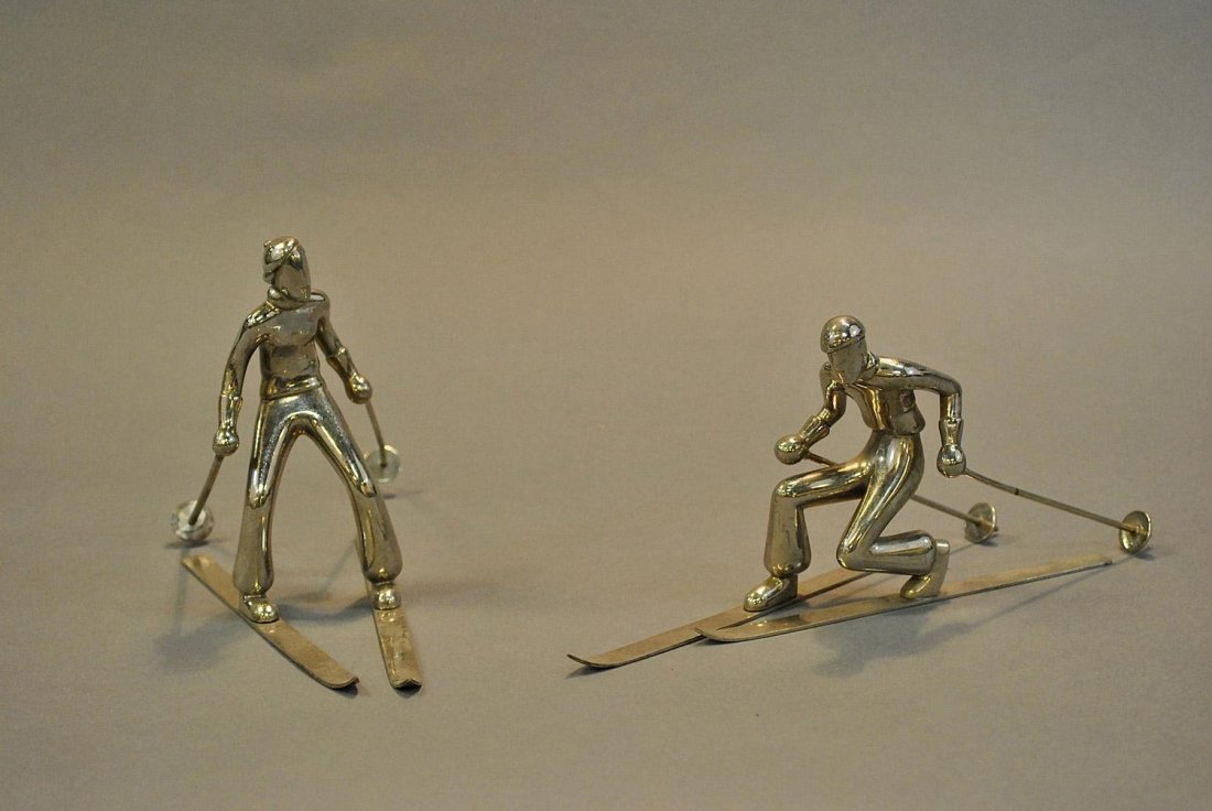 A pair of modernist ski figures in the style of Franz H