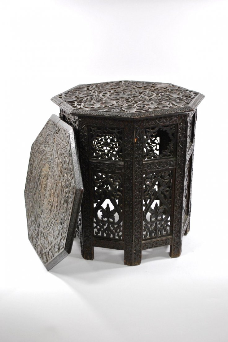 An Anglo-Indian Style Folding Wooden Table with two top