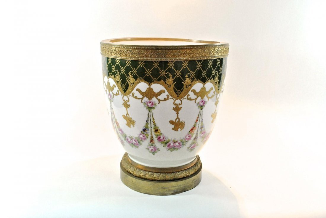 A FRENCH SEVERES-STYLE PORCELAIN JARDINIERE ,