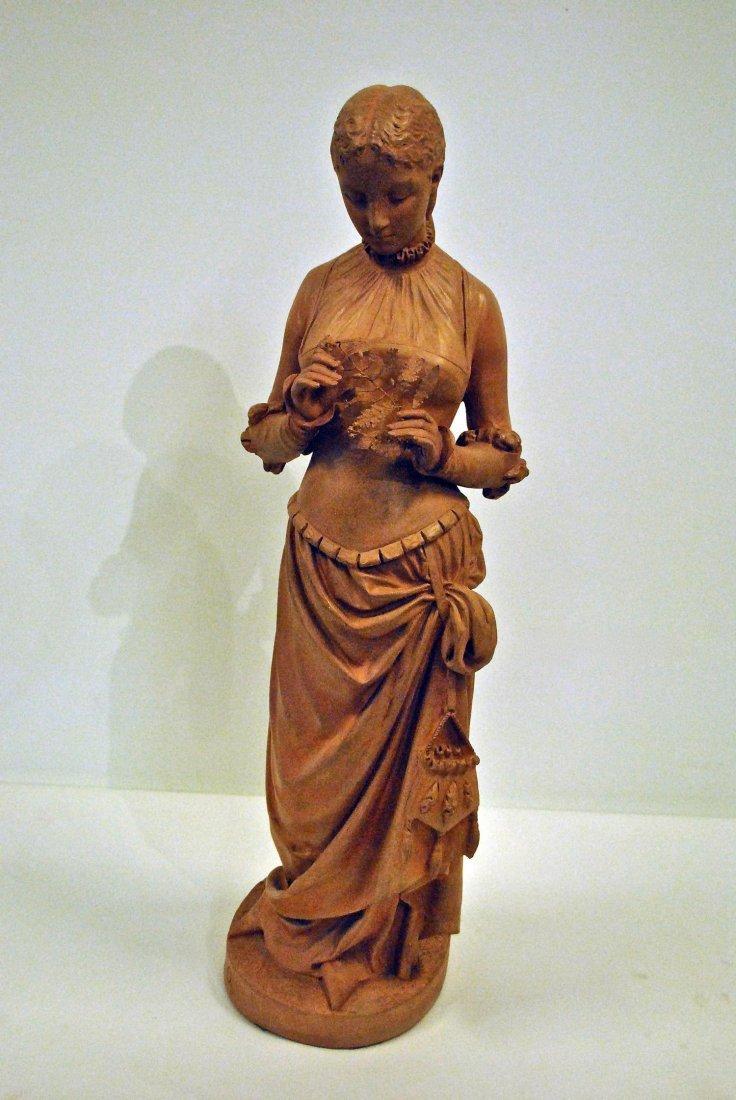 A TERRACOTTA BY PIERRE M. F. OGE (1849-1913) 'MAIDEN/LA