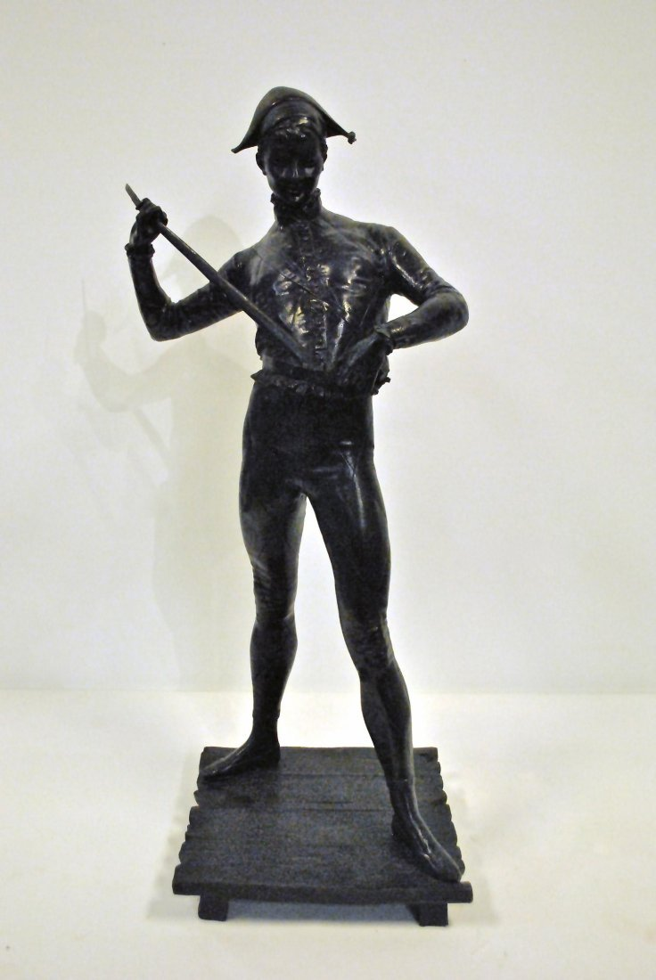 A BRONZE HARLEQUIN BY P. DUBOIS,