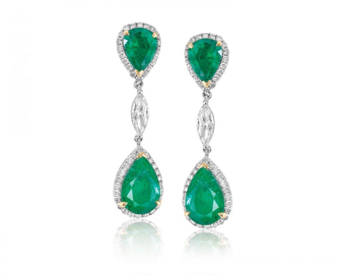 Pair of emerald and diamond earrings
