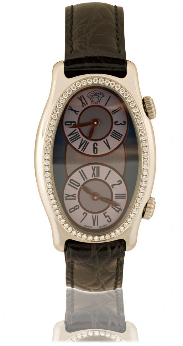 VERSACE, A LADY'S DIAMOND-SET STAINLESS STEEL WRISTWAT