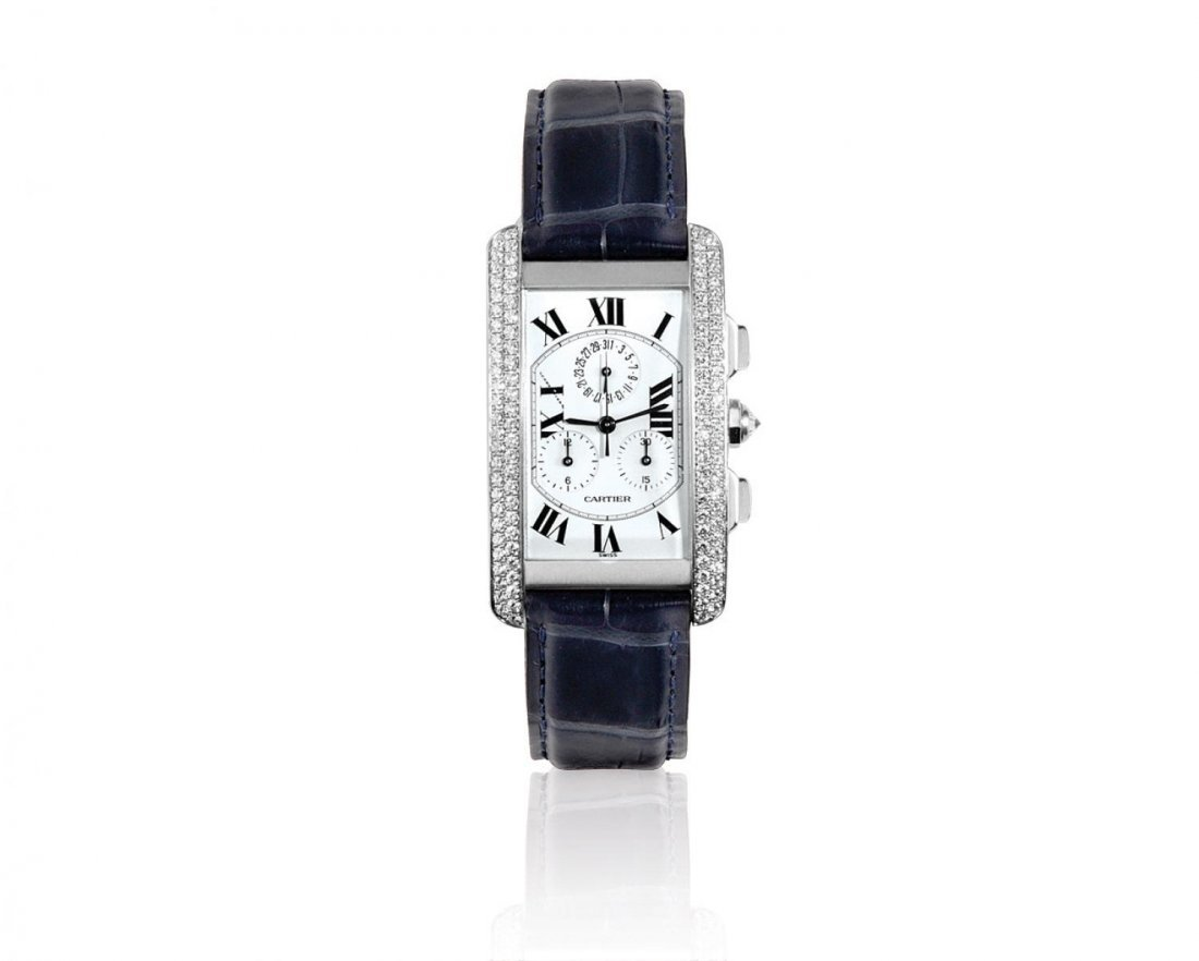 CARTIER, A MEN'S TANK AMERICAINE IN WHITE GOLD WITH DI
