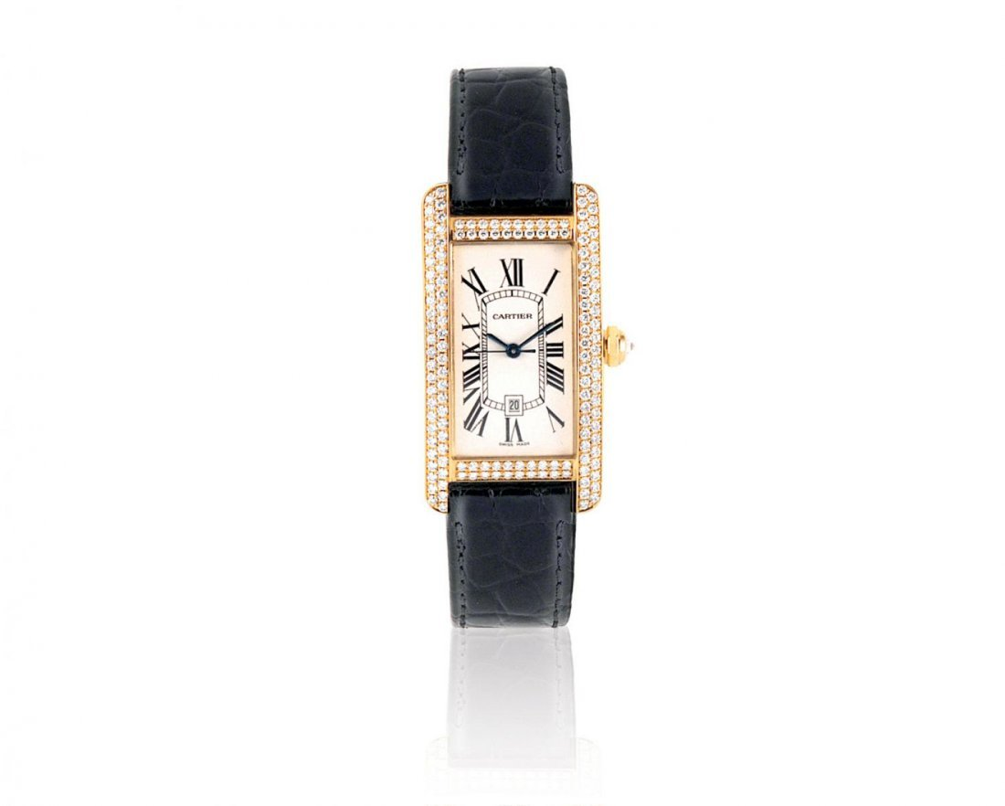 CARTIER, A MEN'S TANK AMERICAINE IN 18K YELLOW GOLD WI
