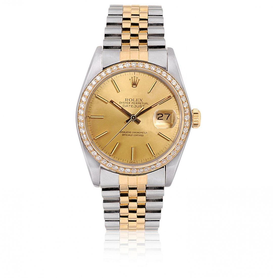 ROLEX, A CUSTOM DIAMONDS SET GOLD AND STAINLESS STEEL