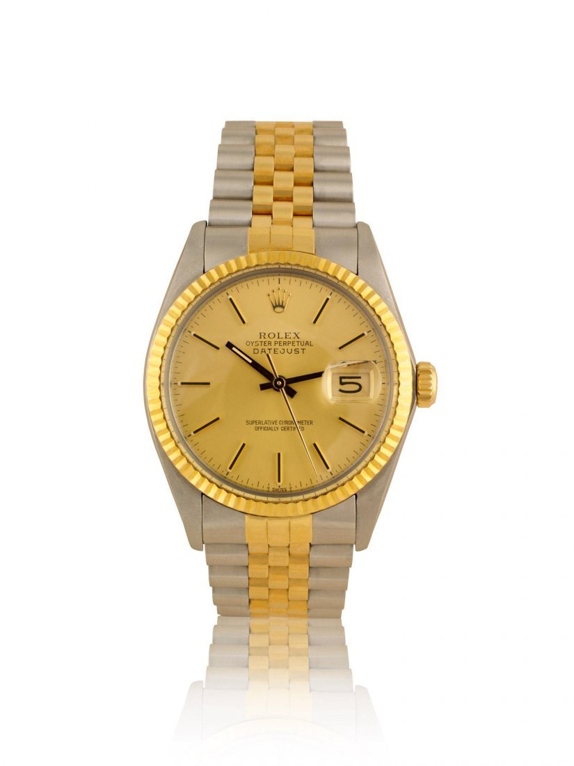 ROLEX, A STAINLESS STEEL AND GOLD AUTOMATIC CENTER SEC