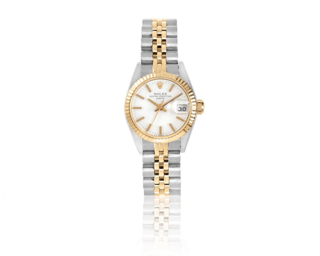 ROLEX, A LADIES STAINLESS STEEL AND 18K YELLOW GOLD AU