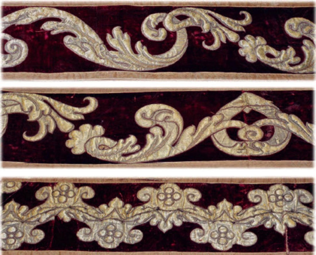 AN ITALIAN OR FRENCH VELVET AND SILK VALENCE